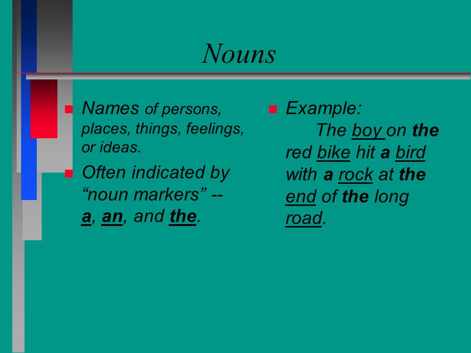 Nouns n n Names of persons, places, things, feelings, or ideas.