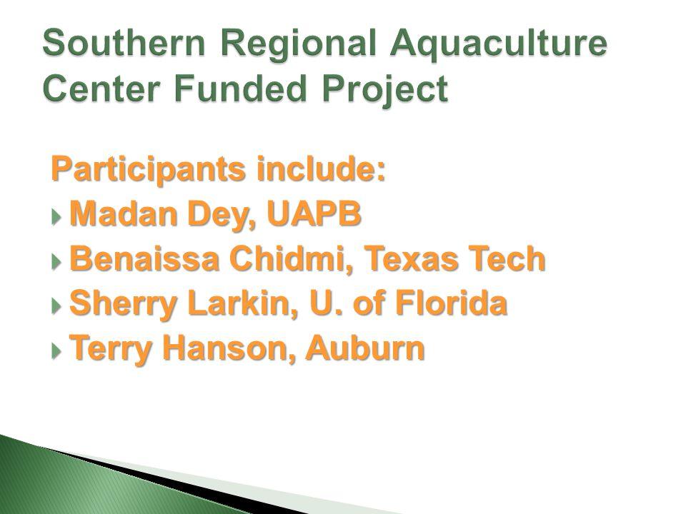 Participants include:  Madan Dey, UAPB  Benaissa Chidmi, Texas Tech  Sherry Larkin, U.