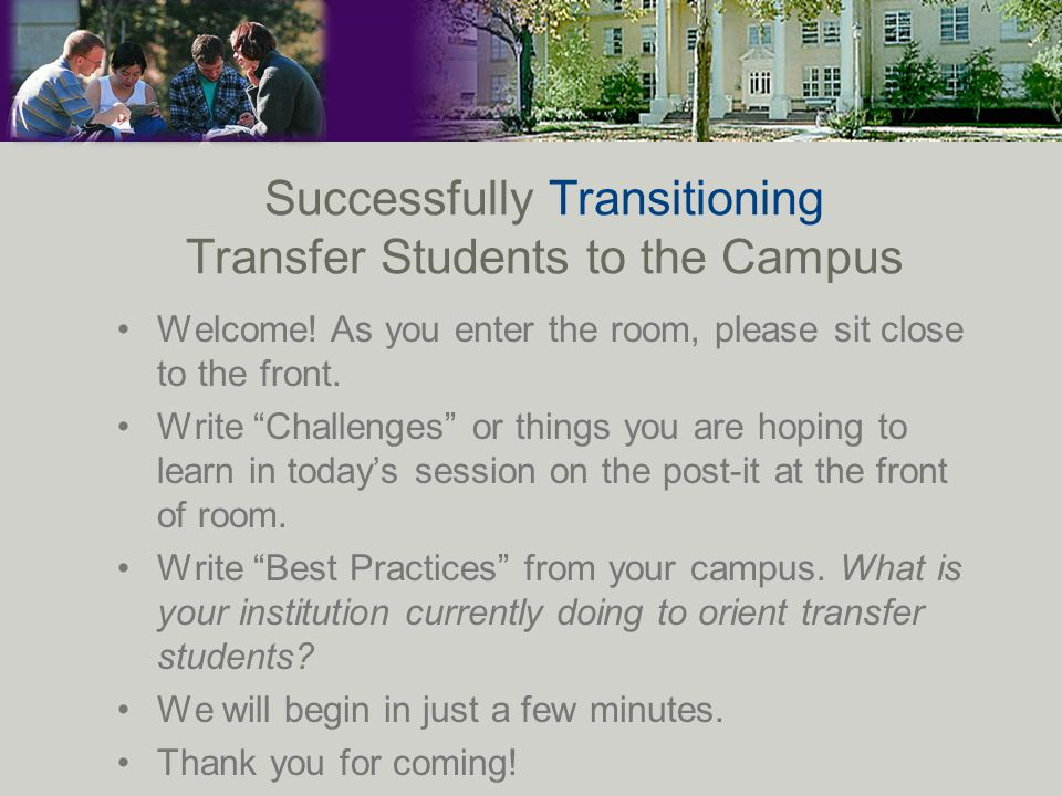 TCU Philosophy Implementation A Transfer Student for a semester.