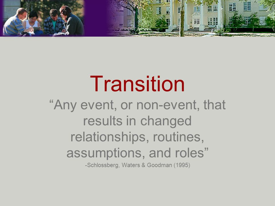 Transition Any event, or non-event, that results in changed relationships, routines, assumptions, and roles -Schlossberg, Waters & Goodman (1995)