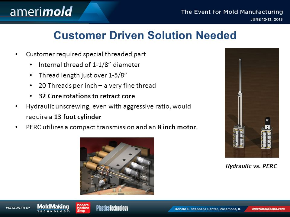 Customer Driven Solution Needed Customer required special threaded part Internal thread of 1-1/8 diameter Thread length just over 1-5/8 20 Threads per inch – a very fine thread 32 Core rotations to retract core Hydraulic unscrewing, even with aggressive ratio, would require a 13 foot cylinder PERC utilizes a compact transmission and an 8 inch motor.