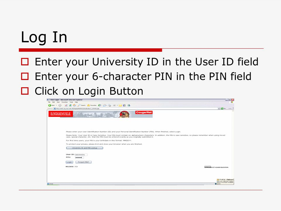 Log In  Enter your University ID in the User ID field  Enter your 6-character PIN in the PIN field  Click on Login Button
