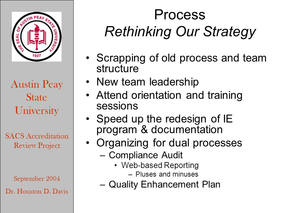 Austin Peay State University SACS Accreditation Review Project September 2004 Dr. Houston D. Davis Process Rethinking Our Strategy Scrapping of old pr