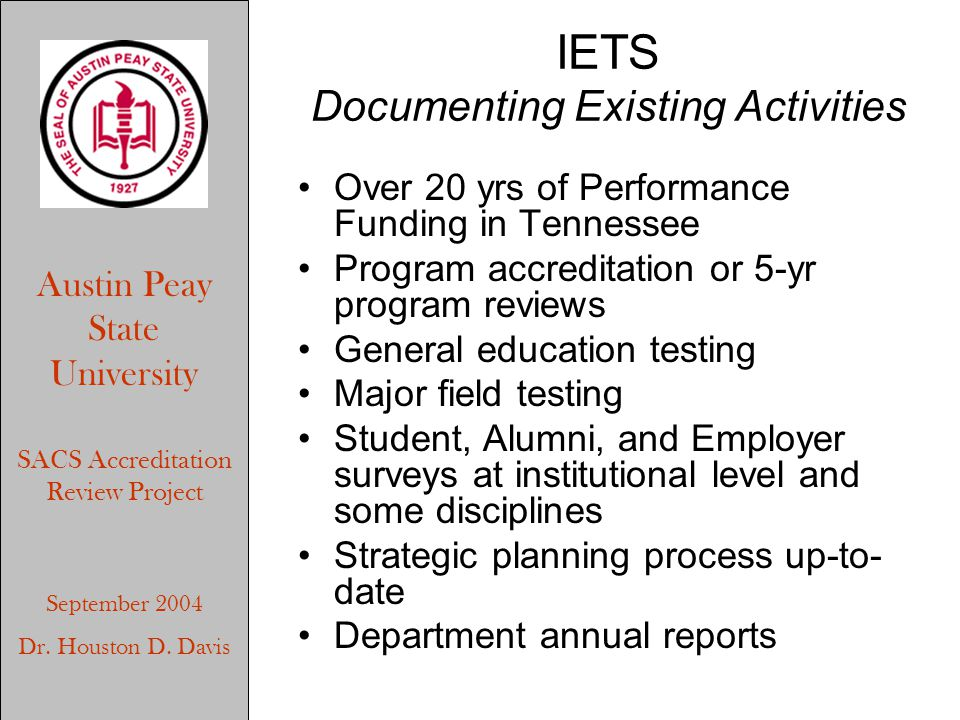 Austin Peay State University SACS Accreditation Review Project September 2004 Dr. Houston D. Davis IETS Documenting Existing Activities Over 20 yrs of