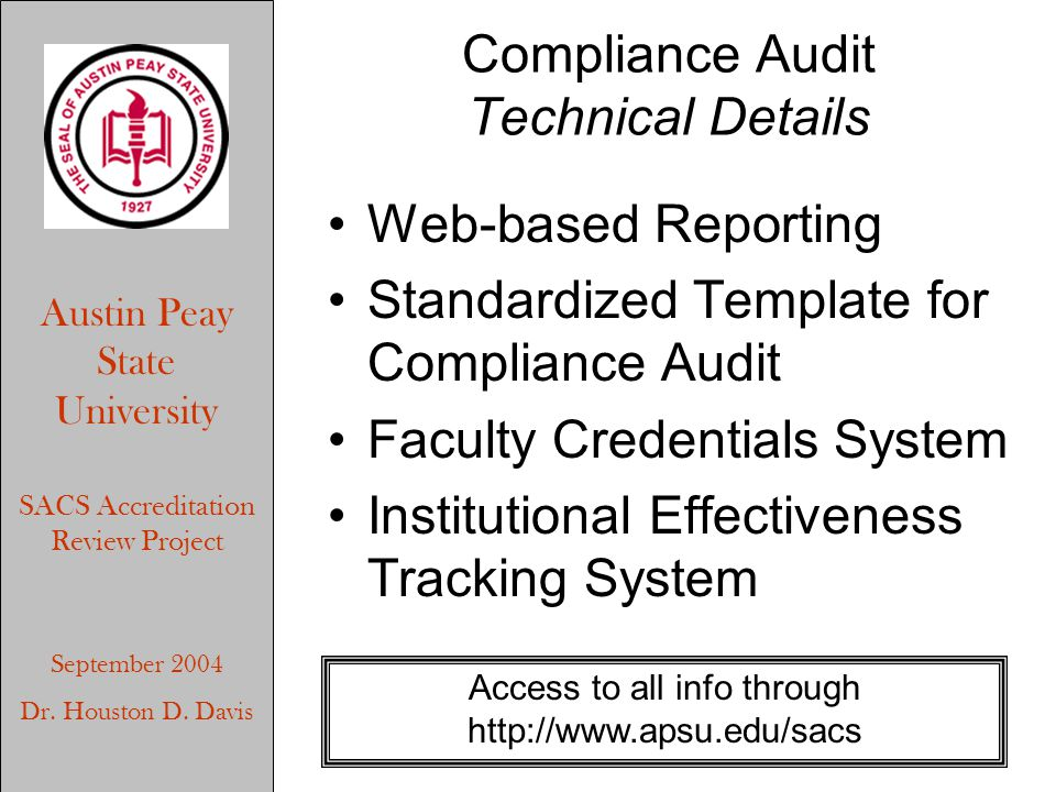 Austin Peay State University SACS Accreditation Review Project September 2004 Dr.