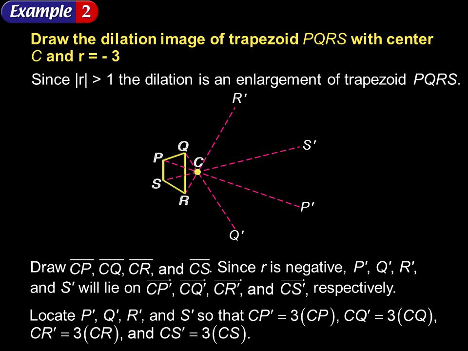Example 5-2a Draw the dilation image of trapezoid PQRS with center C and r = - 3 Since |r| > 1 the dilation is an enlargement of trapezoid PQRS. Draw.