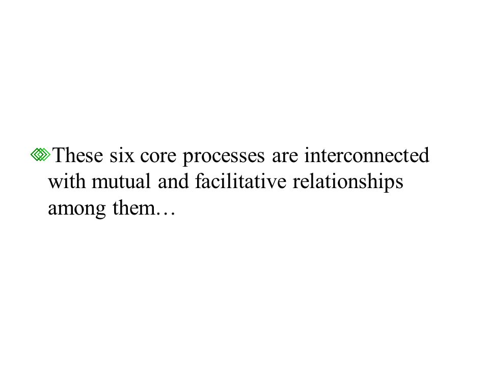 These six core processes are interconnected with mutual and facilitative relationships among them…