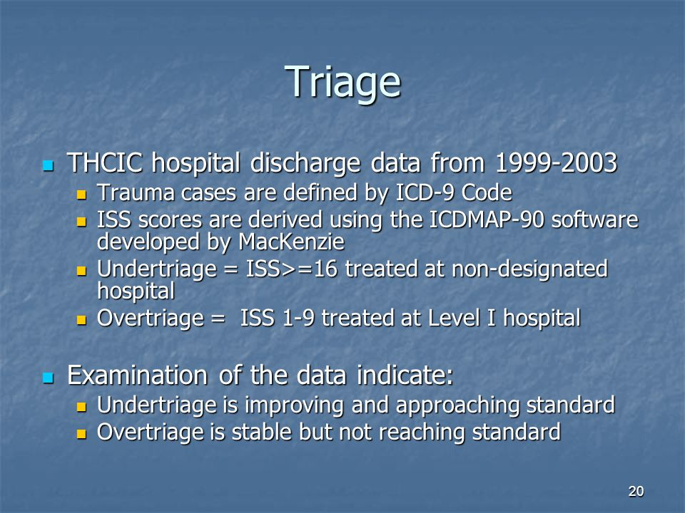 20 Triage THCIC hospital discharge data from 1999-2003 THCIC hospital discharge data from 1999-2003 Trauma cases are defined by ICD-9 Code Trauma cases are defined by ICD-9 Code ISS scores are derived using the ICDMAP-90 software developed by MacKenzie ISS scores are derived using the ICDMAP-90 software developed by MacKenzie Undertriage = ISS>=16 treated at non-designated hospital Undertriage = ISS>=16 treated at non-designated hospital Overtriage = ISS 1-9 treated at Level I hospital Overtriage = ISS 1-9 treated at Level I hospital Examination of the data indicate: Examination of the data indicate: Undertriage is improving and approaching standard Undertriage is improving and approaching standard Overtriage is stable but not reaching standard Overtriage is stable but not reaching standard