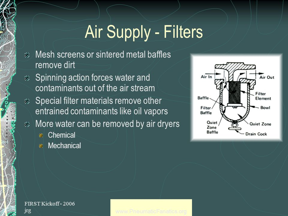 FIRST Kickoff - 2006 jrg www.PneumaticFanatics.org Air Supply Ambient air is compressed But dust, dirt and water are included In industrial applications, contaminants are removed through the use of filters Filter symbol
