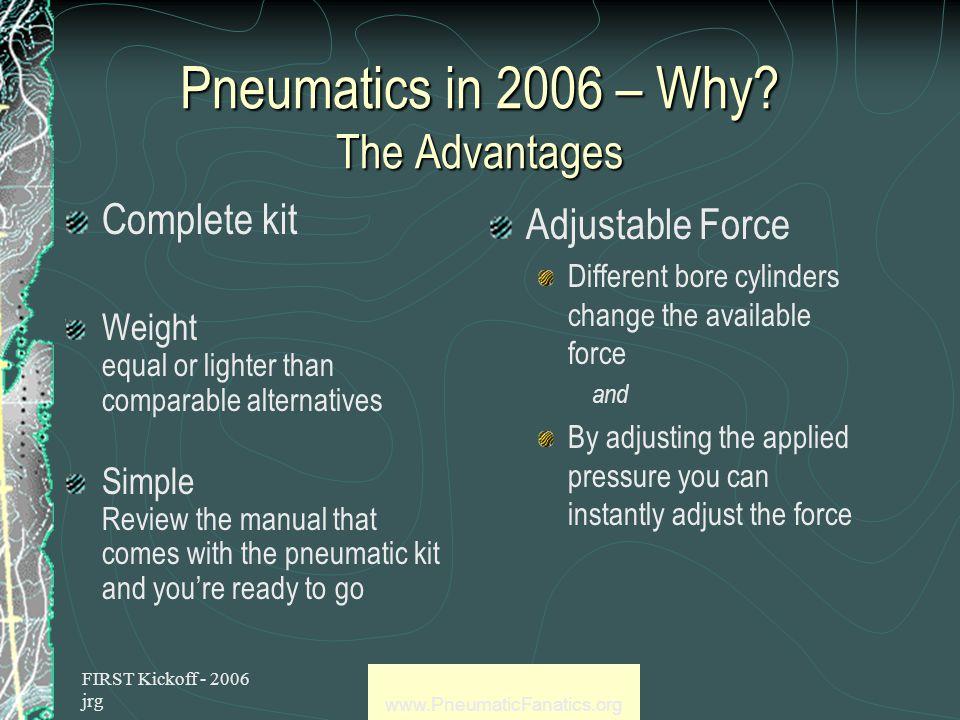 FIRST Kickoff - 2006 jrg www.PneumaticFanatics.org Pneumatics and the FIRST Competition meet Mr.