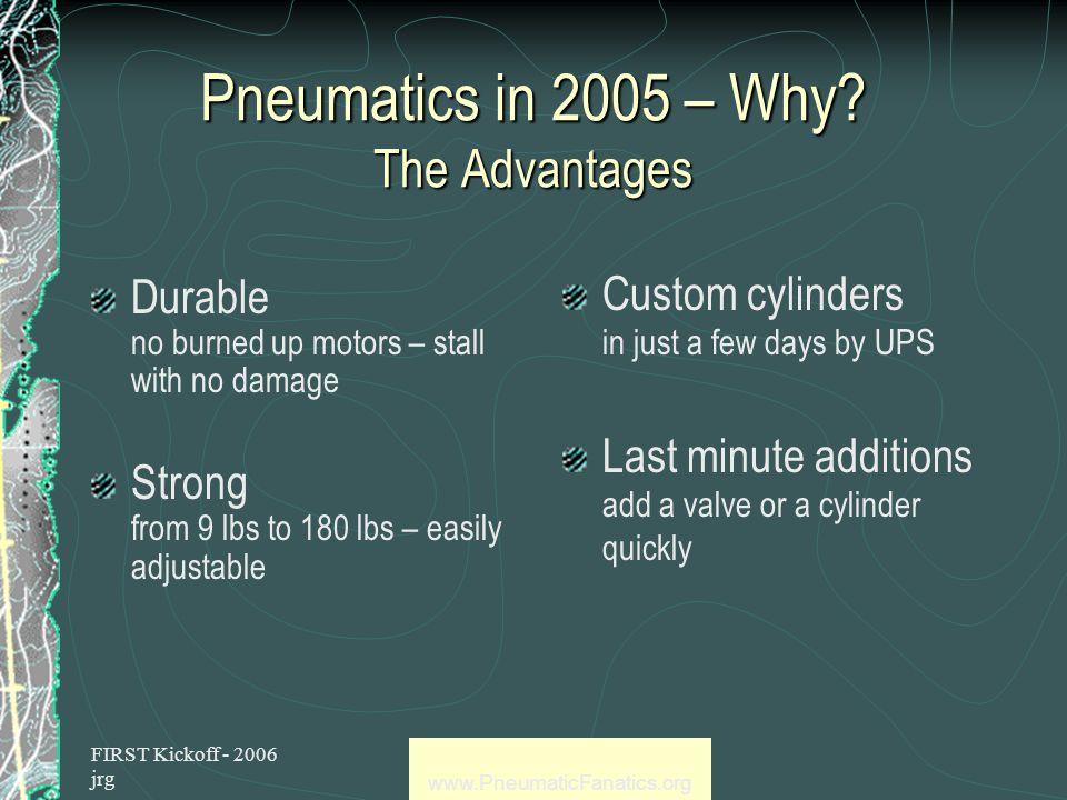 FIRST Kickoff - 2006 jrg www.PneumaticFanatics.org Pneumatics in 2006 – Why.