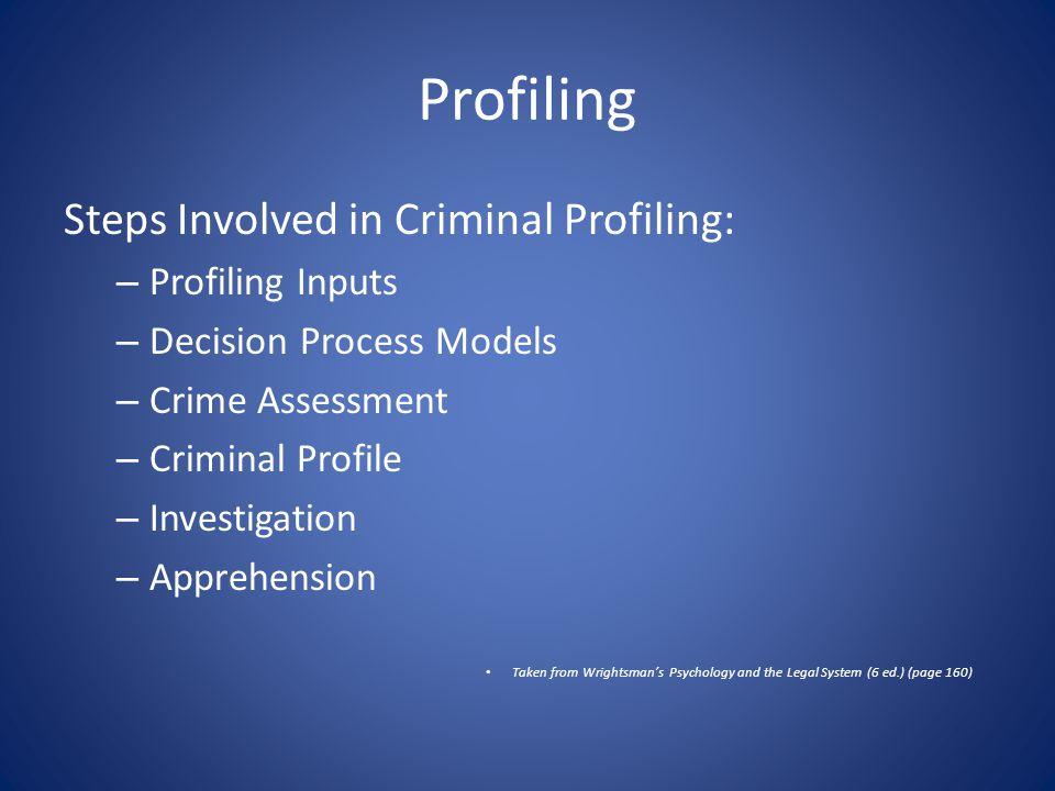 Profiling Steps Involved in Criminal Profiling: – Profiling Inputs – Decision Process Models – Crime Assessment – Criminal Profile – Investigation – Apprehension Taken from Wrightsman's Psychology and the Legal System (6 ed.) (page 160)