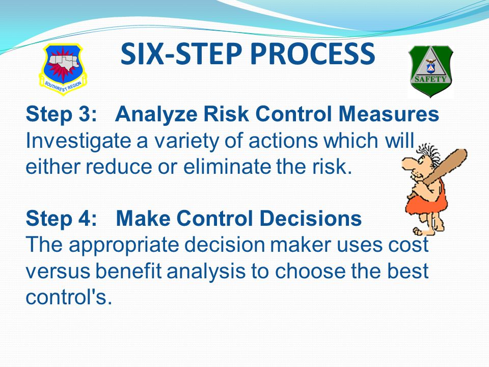 Step 3: Analyze Risk Control Measures Investigate a variety of actions which will either reduce or eliminate the risk.