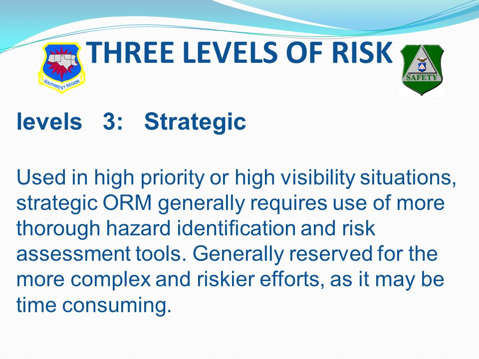 levels 3: Strategic Used in high priority or high visibility situations, strategic ORM generally requires use of more thorough hazard identification and risk assessment tools.
