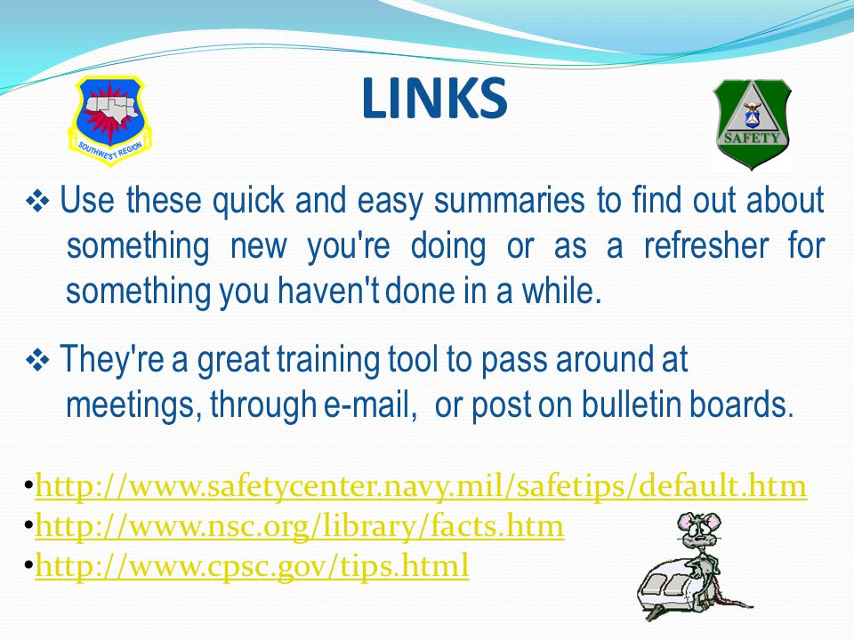 LINKS  Use these quick and easy summaries to find out about something new you re doing or as a refresher for something you haven t done in a while.