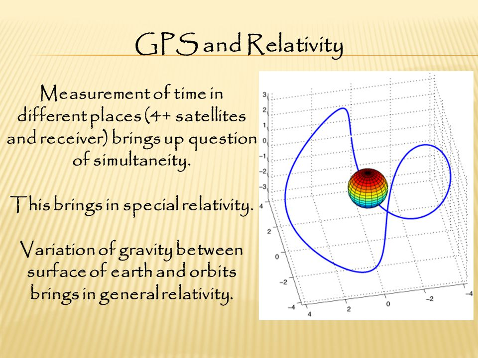 GPS and Relativity Measurement of time in different places (4+ satellites and receiver) brings up question of simultaneity.