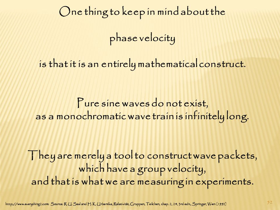 52 One thing to keep in mind about the phase velocity is that it is an entirely mathematical construct.