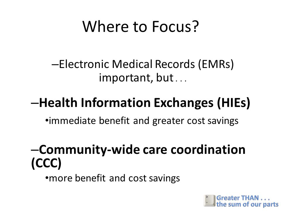 Where to Focus. – Electronic Medical Records (EMRs) important, but...