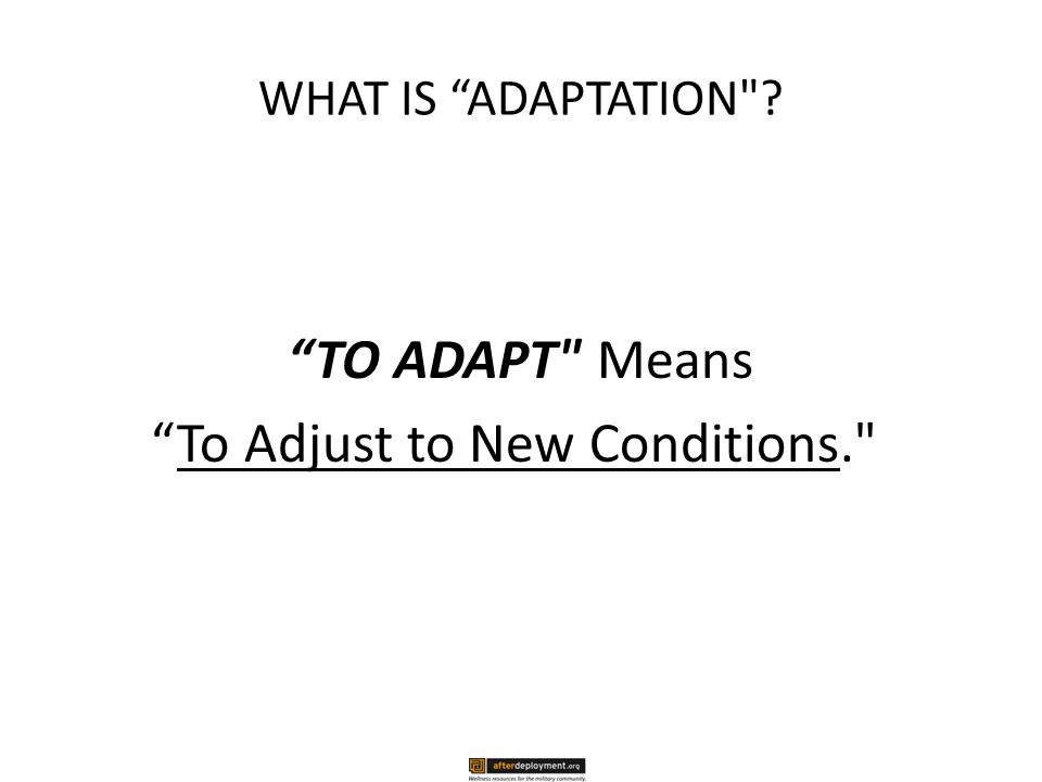 WHAT IS ADAPTATION TO ADAPT Means To Adjust to New Conditions.