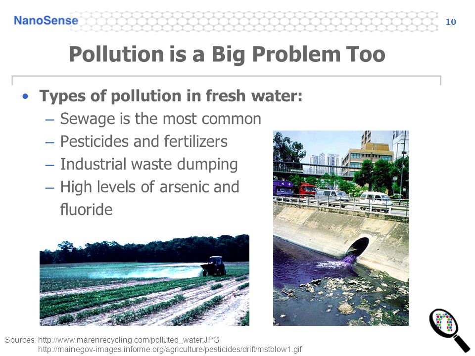 10 Pollution is a Big Problem Too Types of pollution in fresh water: – Sewage is the most common – Pesticides and fertilizers – Industrial waste dumpi