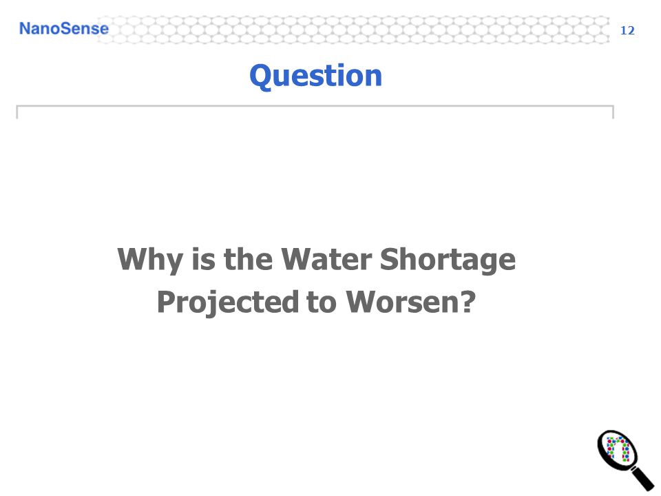 12 Question Why is the Water Shortage Projected to Worsen?