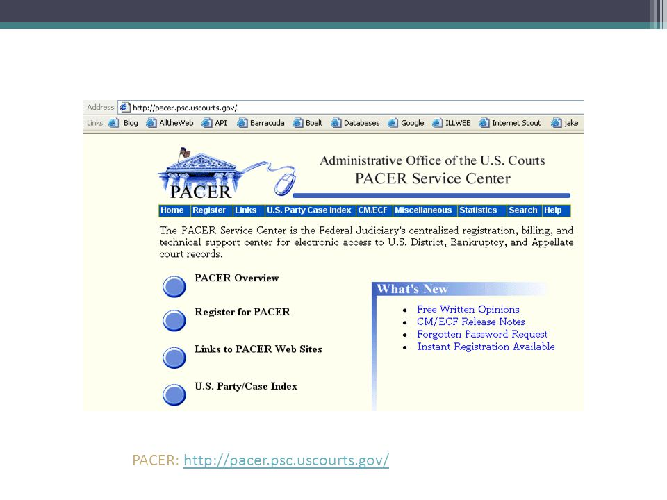 PACER: http://pacer.psc.uscourts.gov/http://pacer.psc.uscourts.gov/