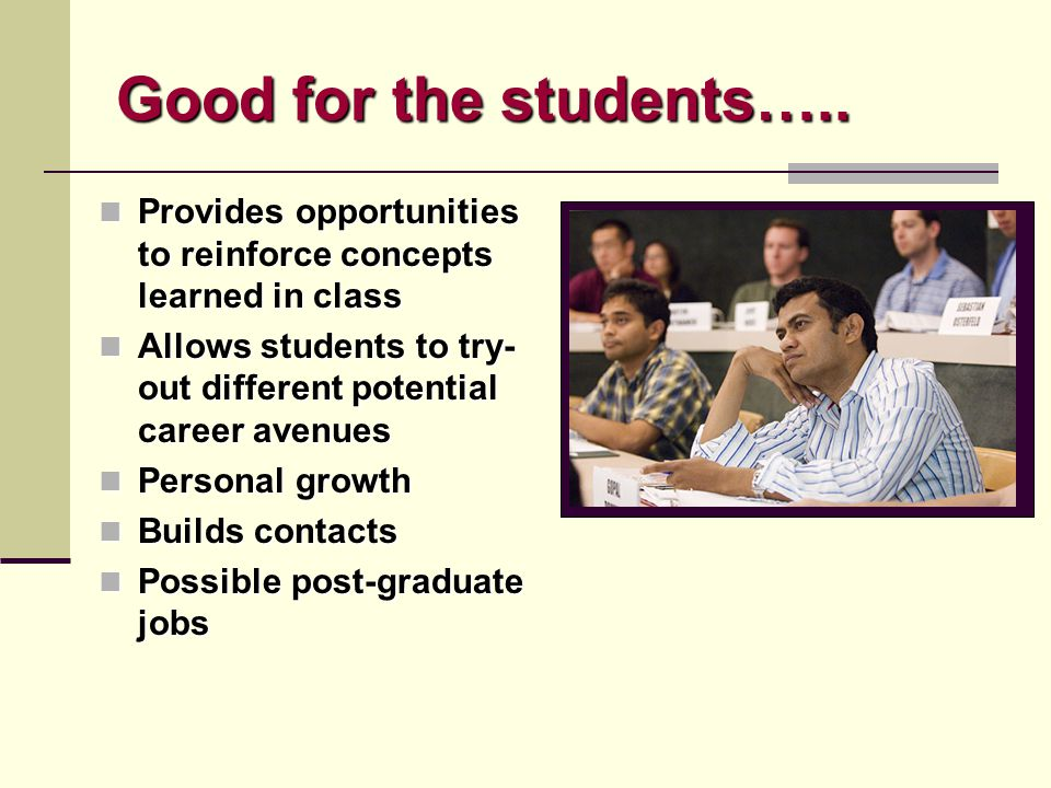 Good for the students….. Provides opportunities to reinforce concepts learned in class Provides opportunities to reinforce concepts learned in class A