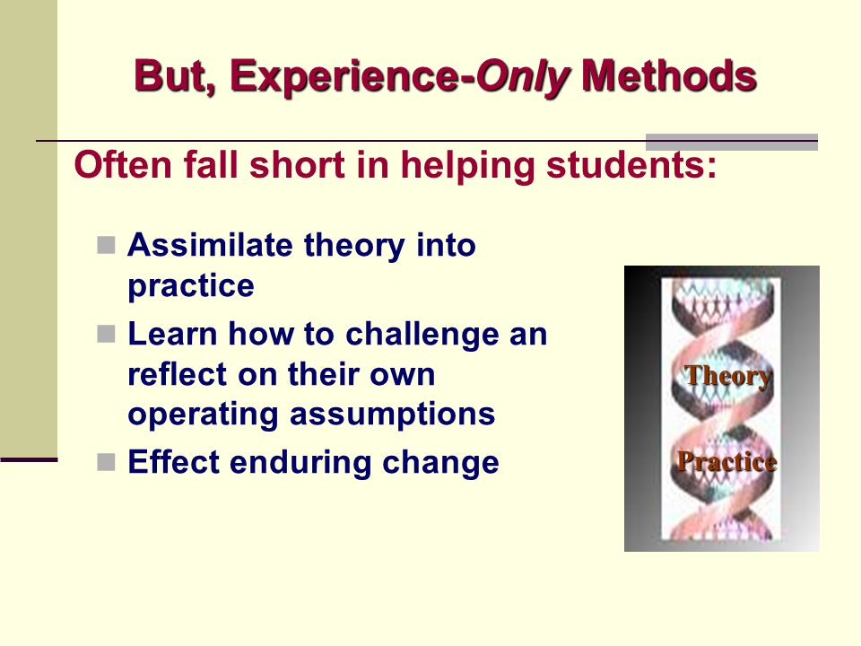 But, Experience-Only Methods Practice Theory Often fall short in helping students: Assimilate theory into practice Learn how to challenge an reflect o