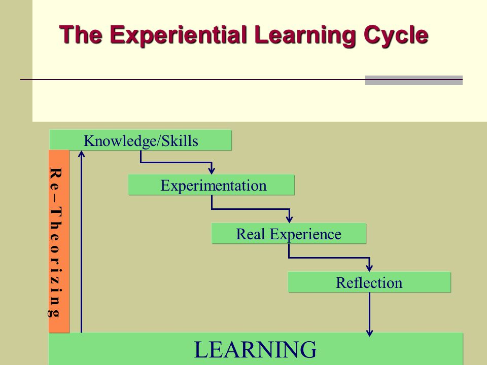 Knowledge/Skills LEARNING Experimentation Real Experience Reflection The Experiential Learning Cycle R e – T h e o r i z i n g