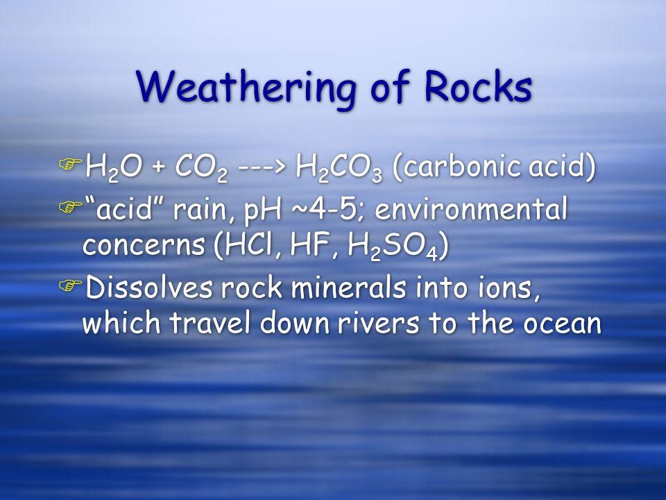 "Weathering of Rocks FH 2 O + CO 2 ---> H 2 CO 3 (carbonic acid) F""acid"" rain, pH ~4-5; environmental concerns (HCl, HF, H 2 SO 4 ) FDissolves rock min"