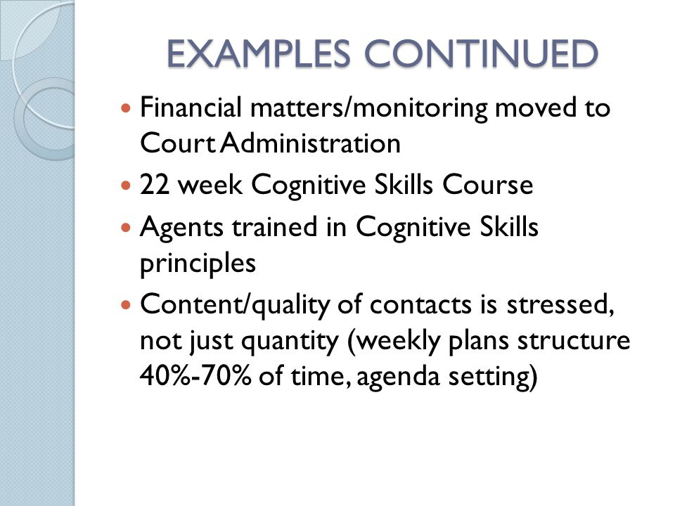 EXAMPLES CONTINUED Financial matters/monitoring moved to Court Administration 22 week Cognitive Skills Course Agents trained in Cognitive Skills princ