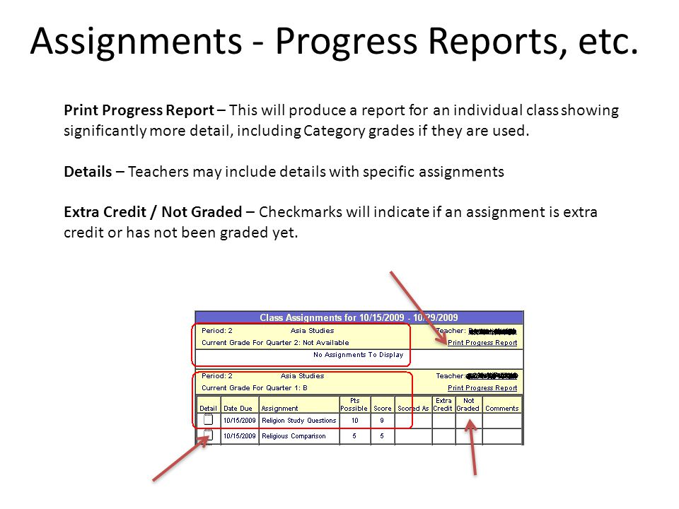 Print Progress Report – This will produce a report for an individual class showing significantly more detail, including Category grades if they are used.