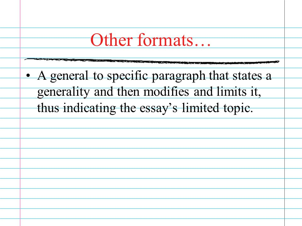 Other formats… A general to specific paragraph that states a generality and then modifies and limits it, thus indicating the essay's limited topic.