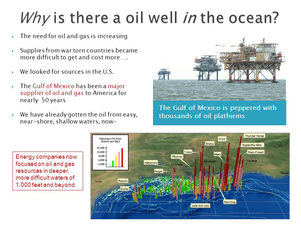 The Gulf of Mexico is peppered with thousands of oil platforms  The need for oil and gas is increasing  Supplies from war torn countries became more