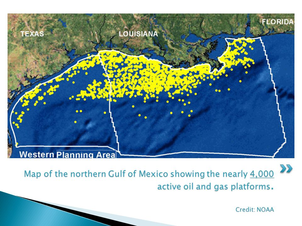 Map of the northern Gulf of Mexico showing the nearly 4,000 active oil and gas platforms. Credit: NOAA