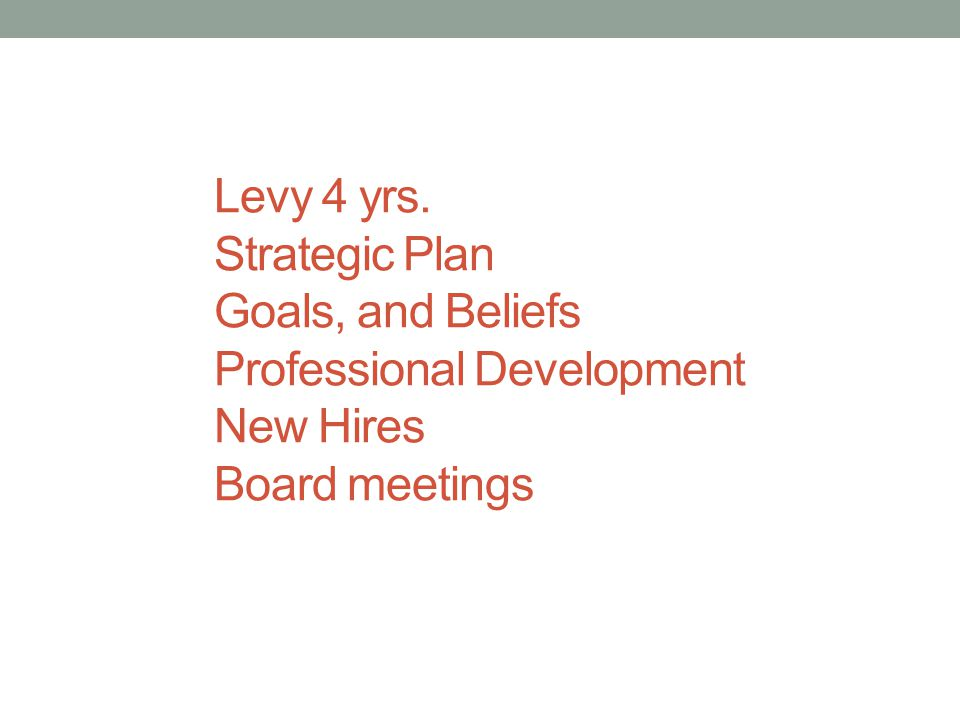 Levy 4 yrs. Strategic Plan Goals, and Beliefs Professional Development New Hires Board meetings