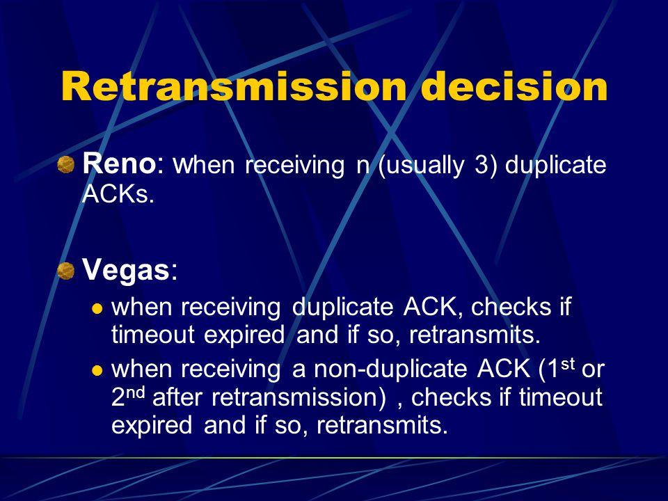 Retransmission decision Reno: w hen receiving n (usually 3) duplicate ACKs.
