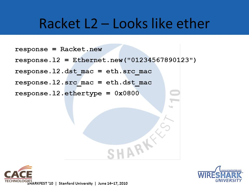 SHARKFEST '10 | Stanford University | June 14–17, 2010 Racket L2 – Looks like ether response = Racket.new response.l2 = Ethernet.new( 01234567890123 ) response.l2.dst_mac = eth.src_mac response.l2.src_mac = eth.dst_mac response.l2.ethertype = 0x0800
