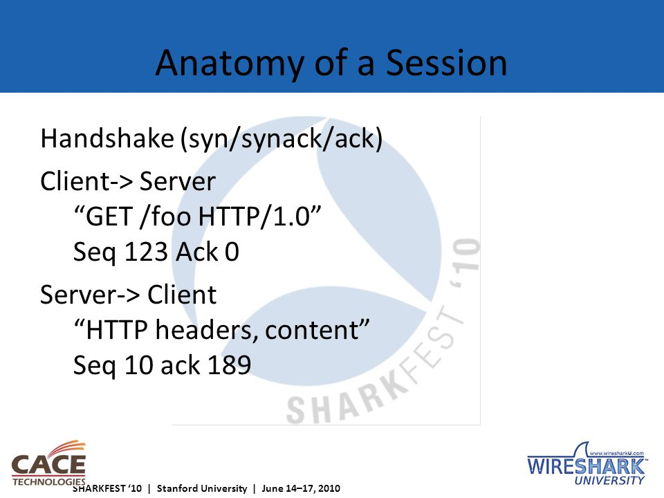 SHARKFEST '10 | Stanford University | June 14–17, 2010 Anatomy of a Session Handshake (syn/synack/ack) Client-> Server GET /foo HTTP/1.0 Seq 123 Ack 0 Server-> Client HTTP headers, content Seq 10 ack 189