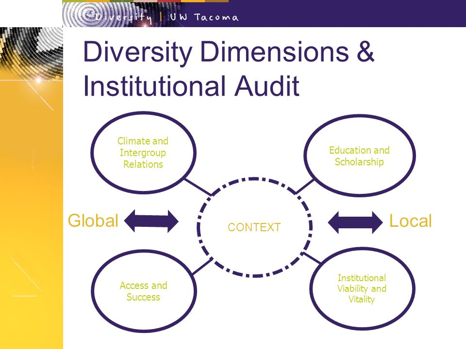 Diversity Dimensions & Institutional Audit Education and Scholarship Access and Success Institutional Viability and Vitality Climate and Intergroup Relations CONTEXT Global Local
