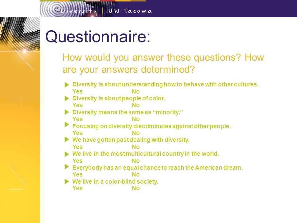 Questionnaire: Diversity is about understanding how to behave with other cultures.