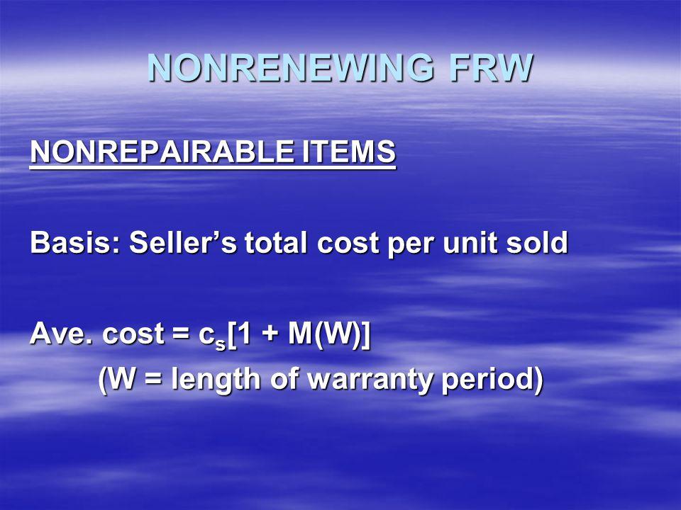 NONRENEWING FRW NONREPAIRABLE ITEMS Basis: Seller's total cost per unit sold Ave.