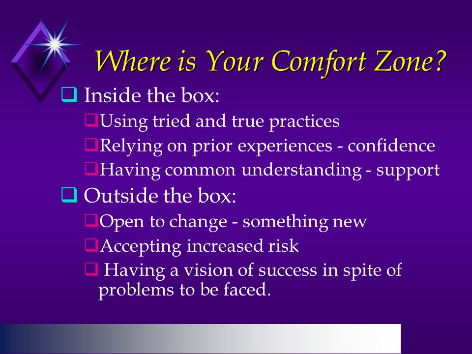 Where is Your Comfort Zone.