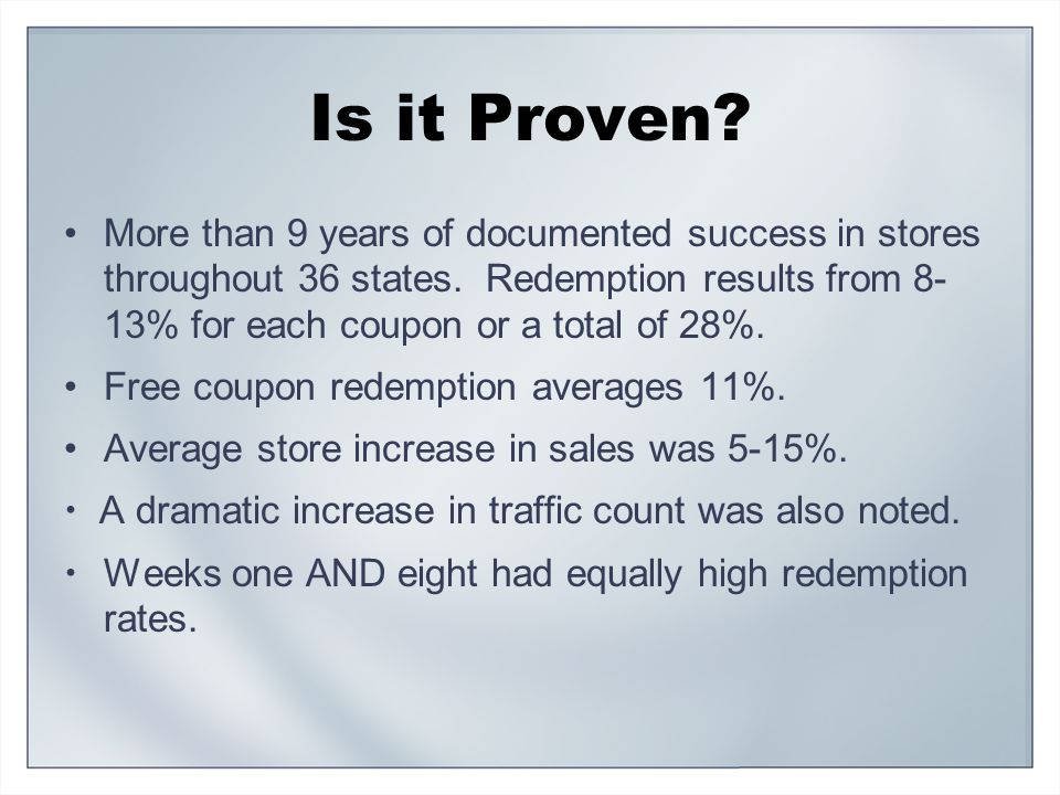 Is it Proven. More than 9 years of documented success in stores throughout 36 states.