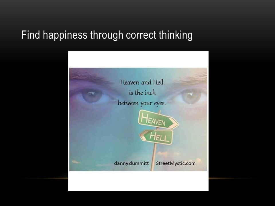 Find happiness through correct thinking