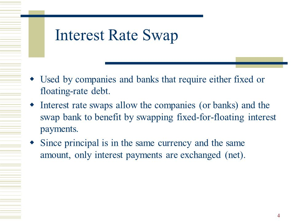 4 Interest Rate Swap  Used by companies and banks that require either fixed or floating-rate debt.
