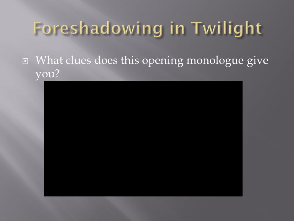  What clues does this opening monologue give you