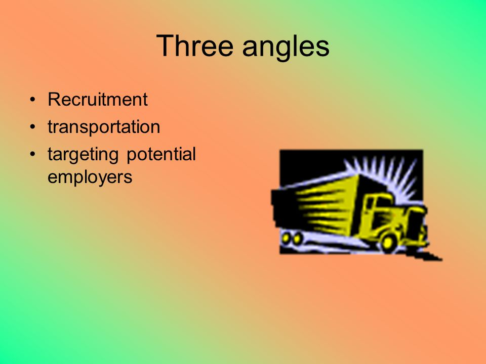 Three angles Recruitment transportation targeting potential employers