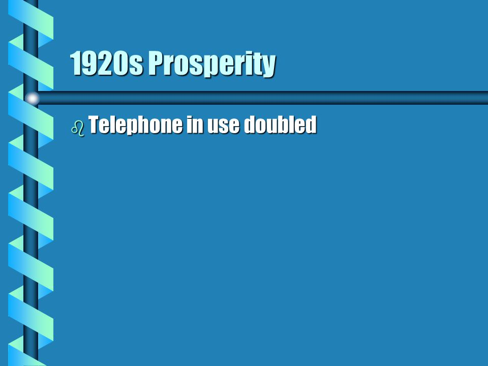 1920s Prosperity b Telephone in use doubled
