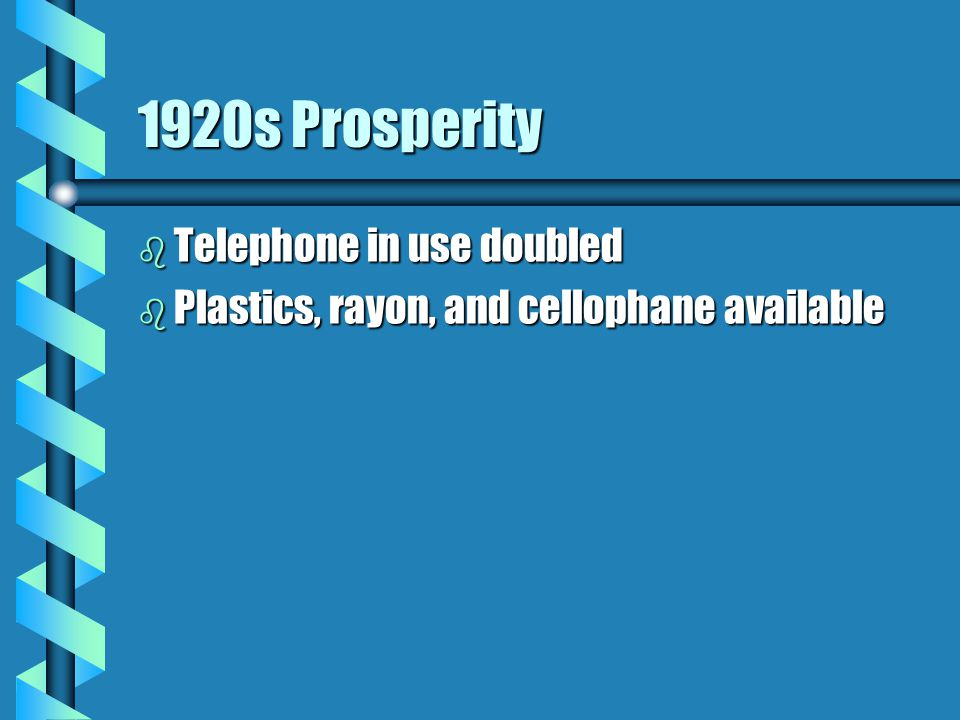 1920s Prosperity b Telephone in use doubled b Plastics, rayon, and cellophane available